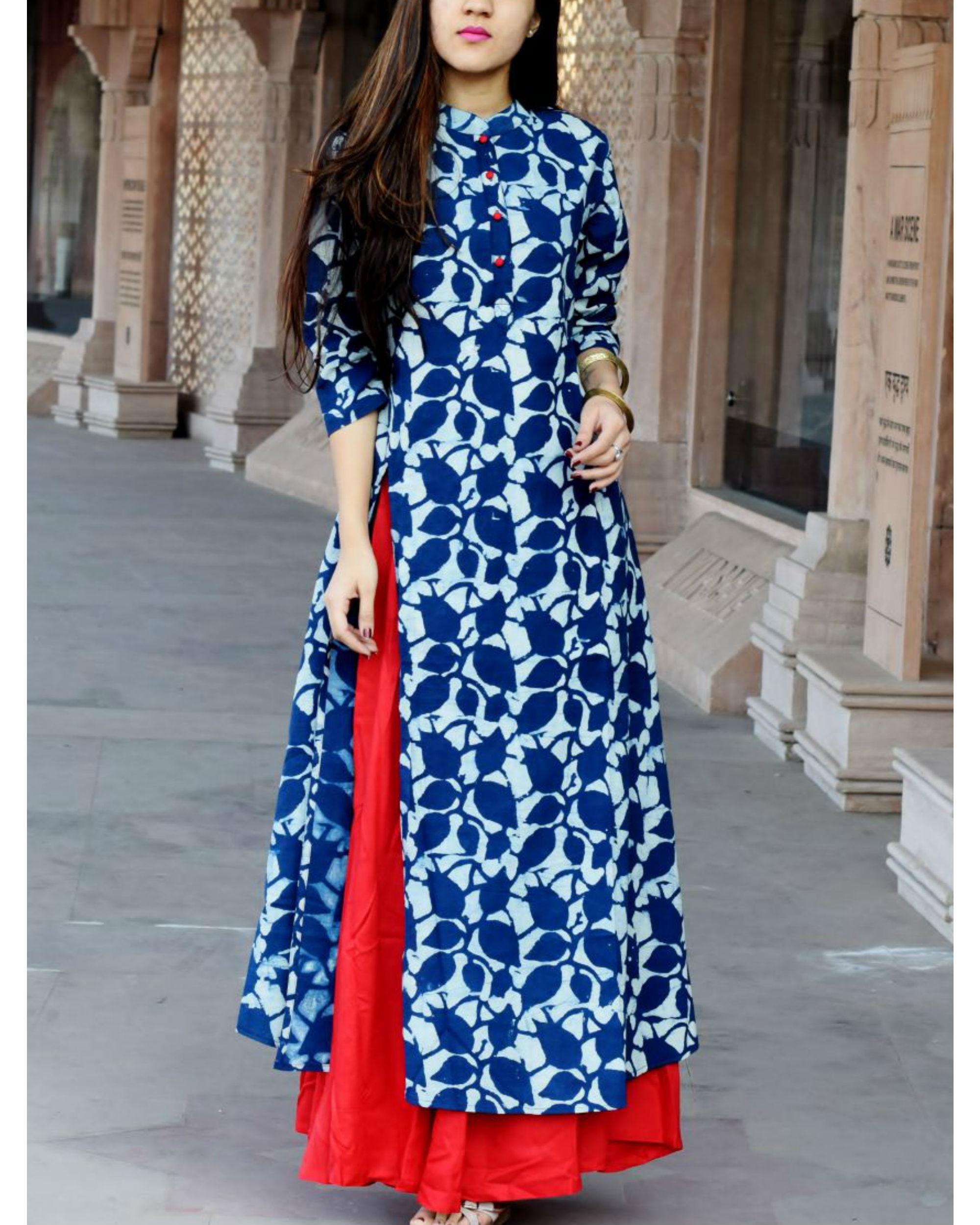 Indigo leaf print double layered dress