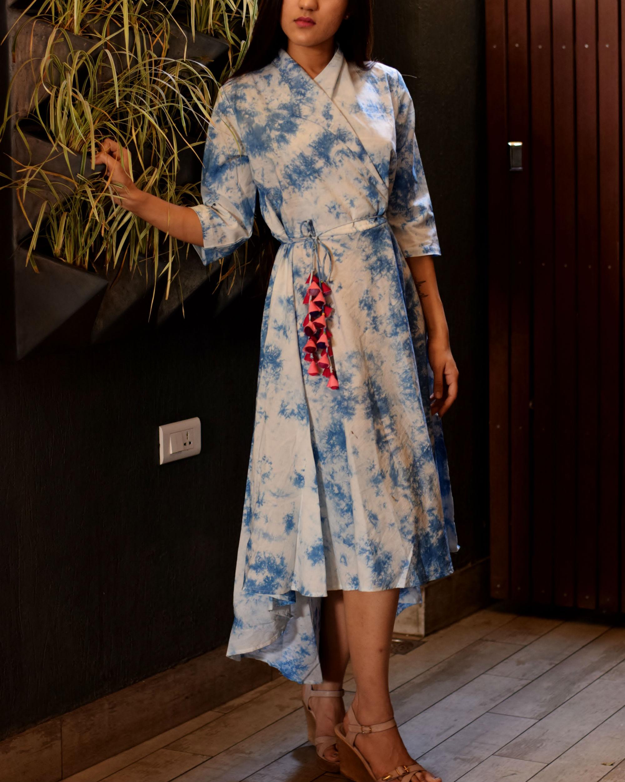 Tie and dye wrap dress