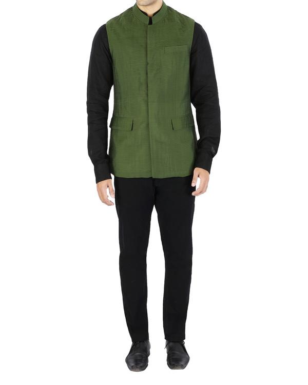 Green pin tucked nehru jacket