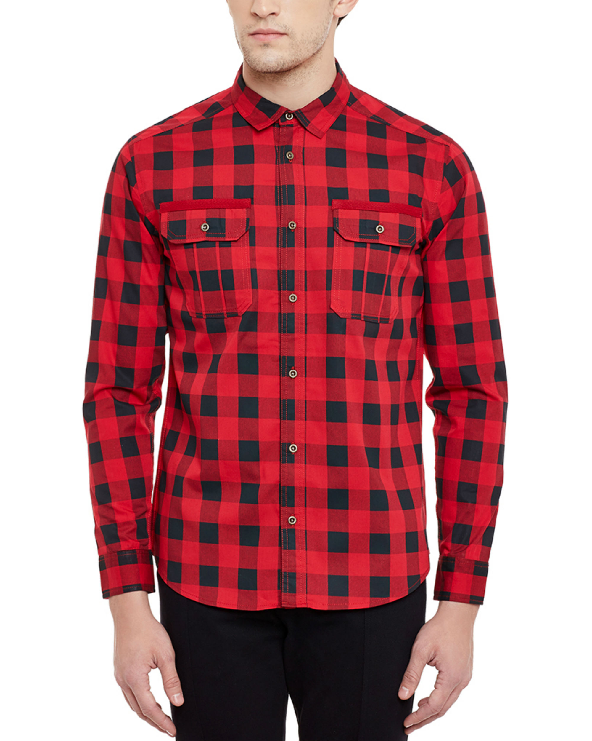 Box check military shirt