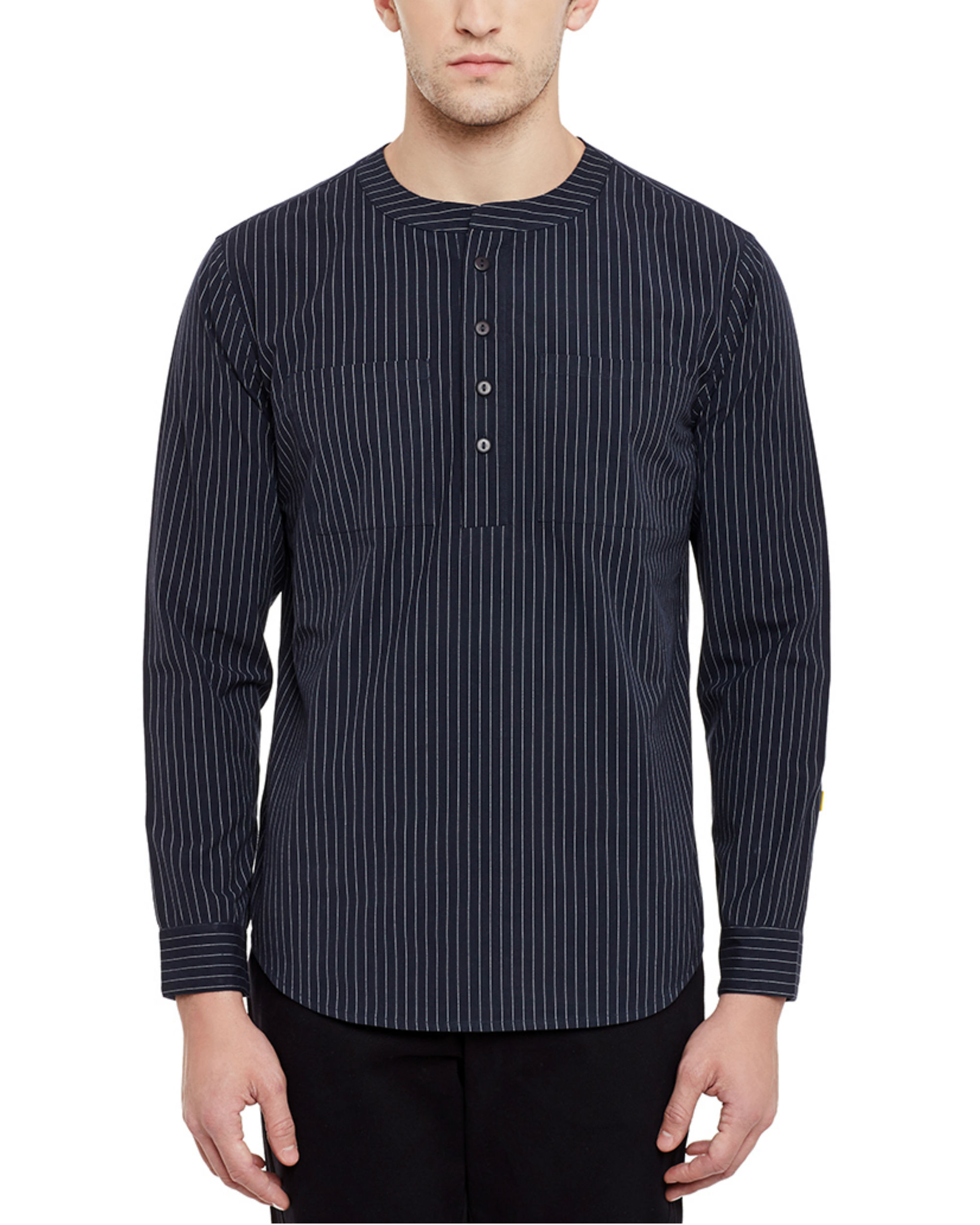 Pin stripe henley shirt