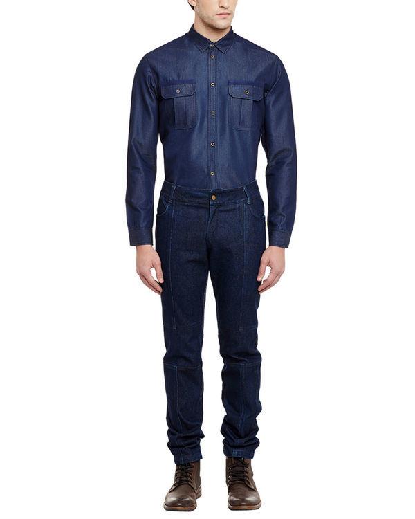 3d fit raw denim straight jeans