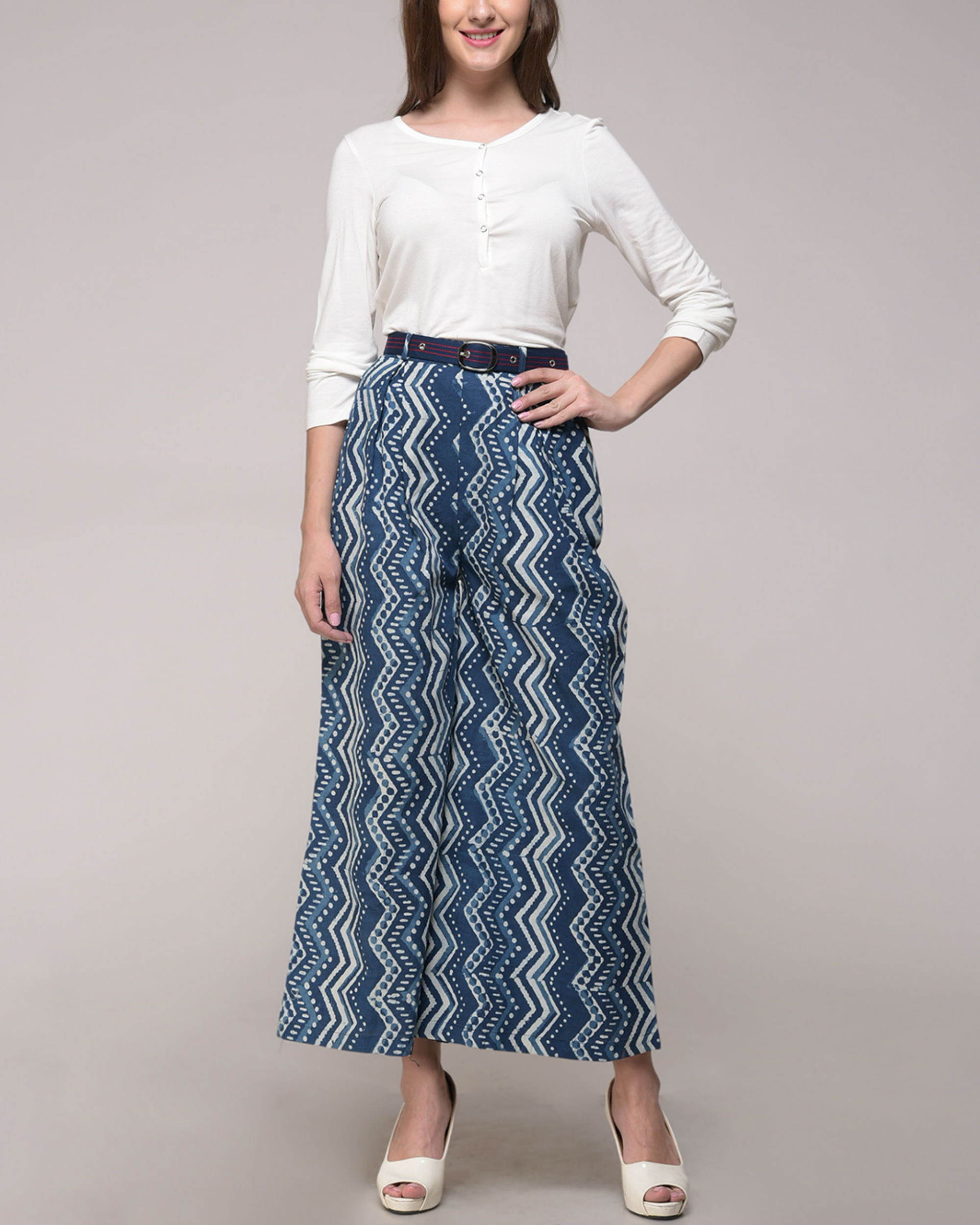 Dabu printed chevron palazzos with belt
