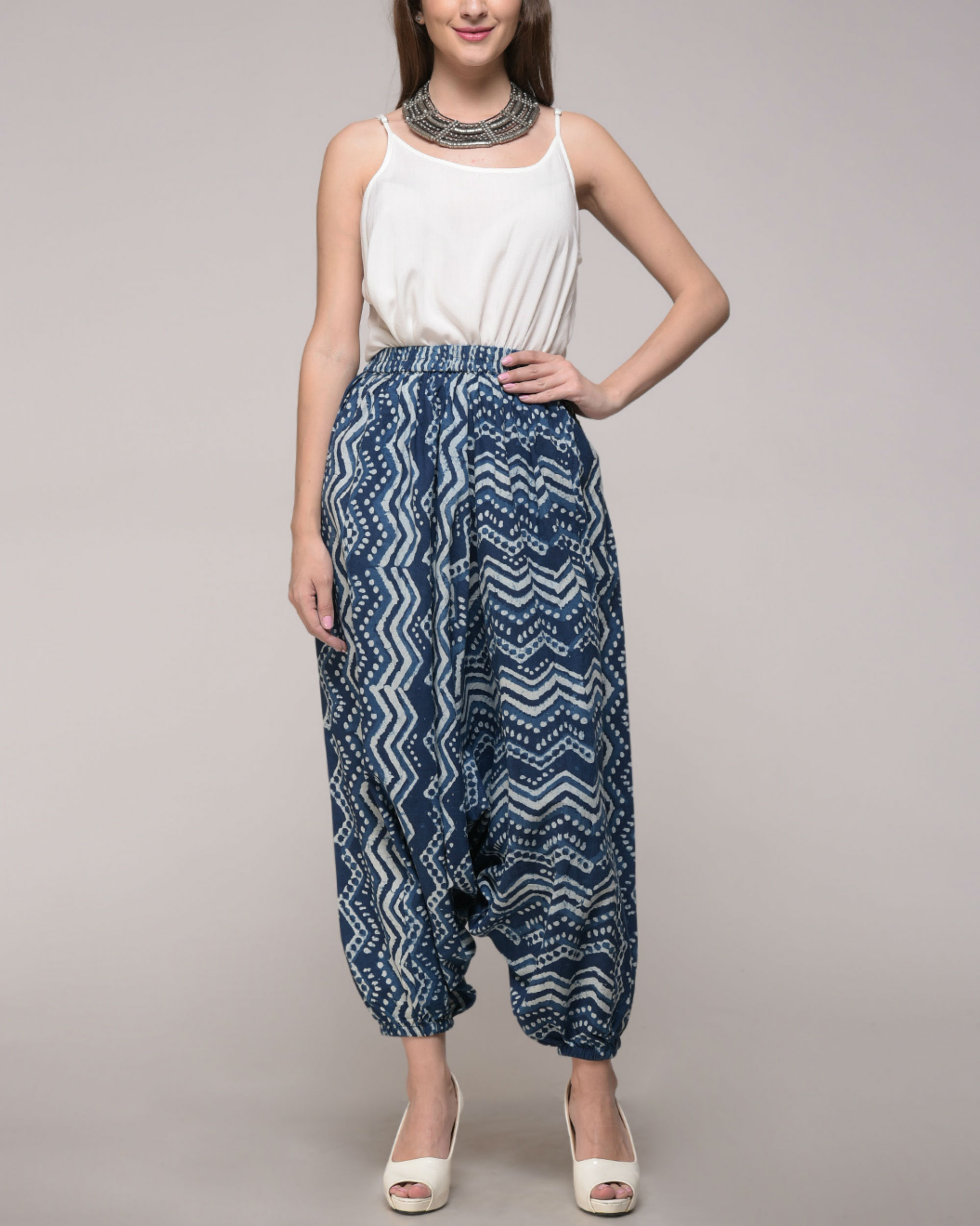 Dabu printed chevron harem pants