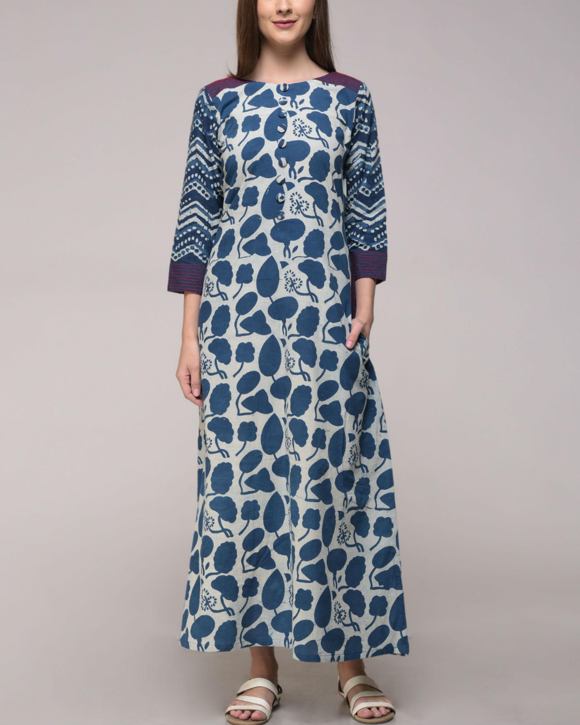 Indigo and violet dress