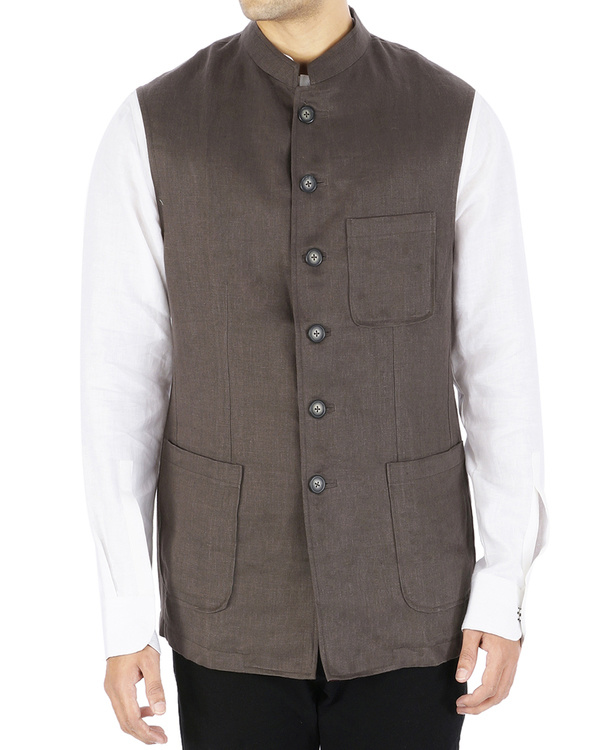Brown linen nehru jacket
