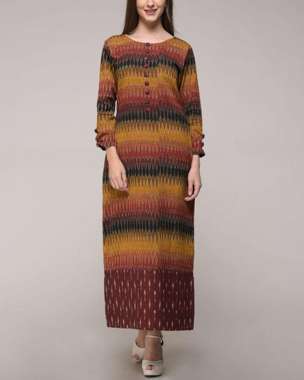 Patched ikat slit dress