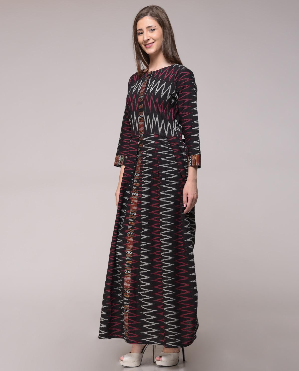 Chevron ikat pleated dress