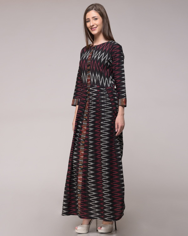 Chevron ikat pleated dress