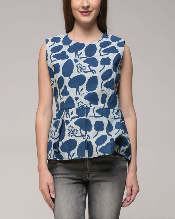 Indigo peplum top