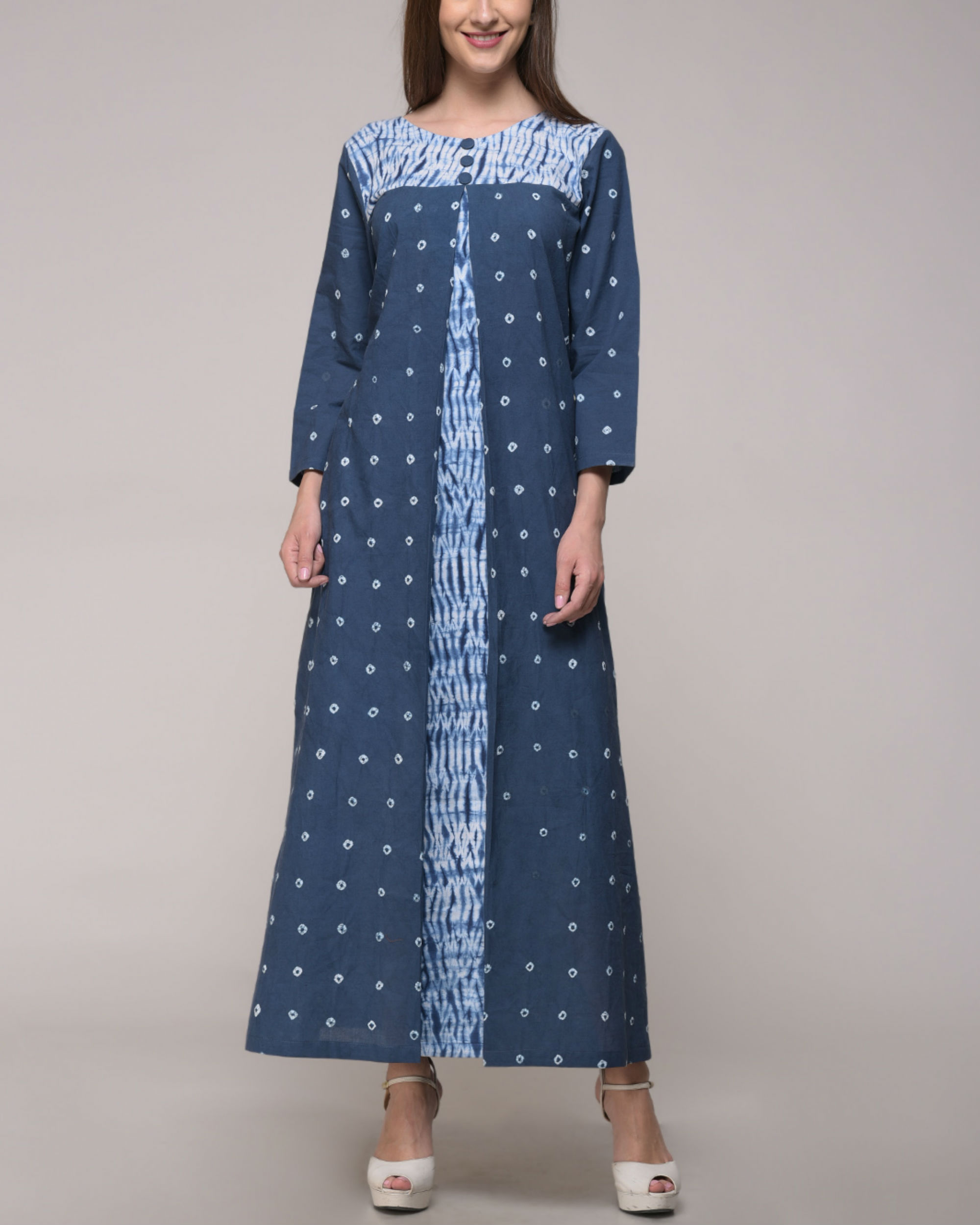 Shibori tie dye pleated dress