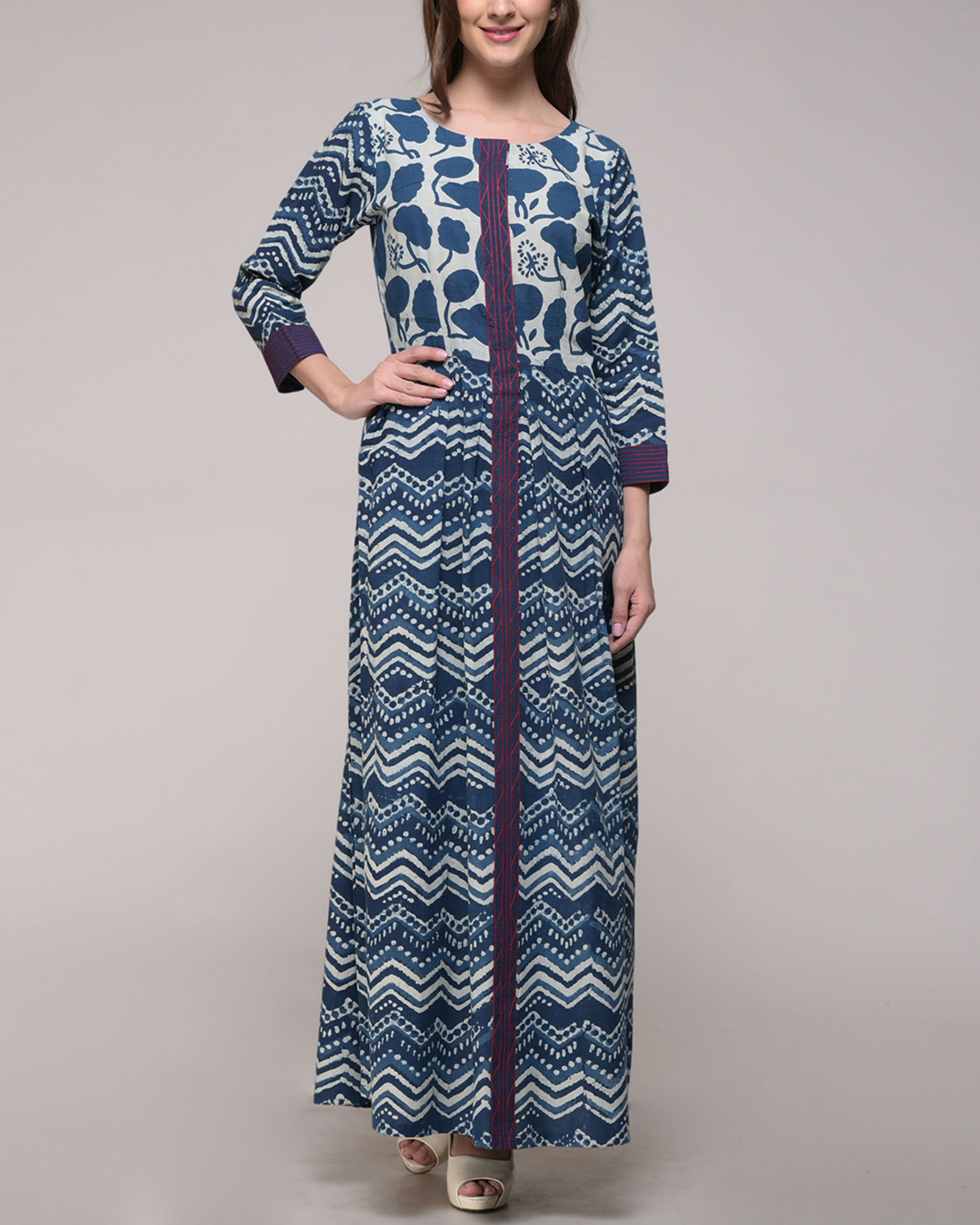 Indigo print embroidered dress