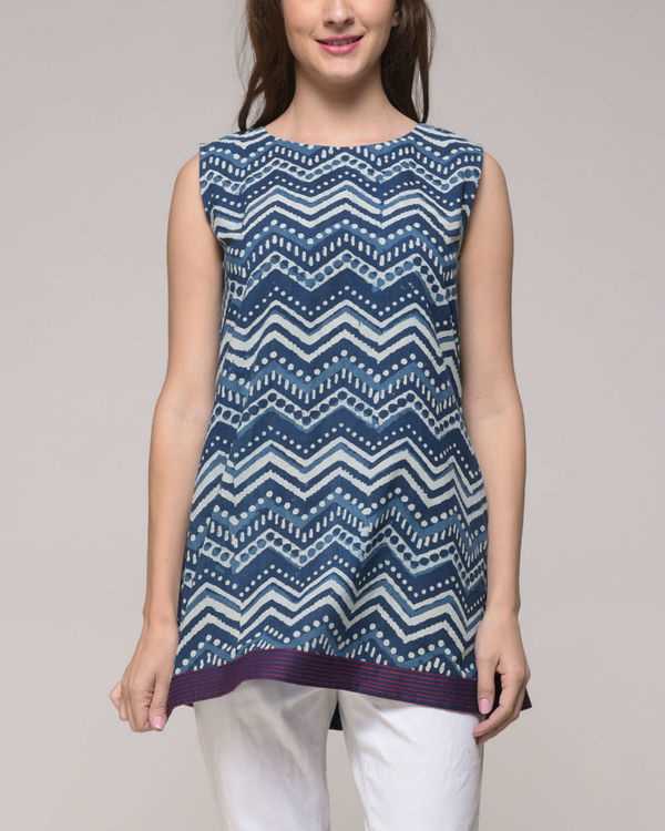 Indigo chevron printed top