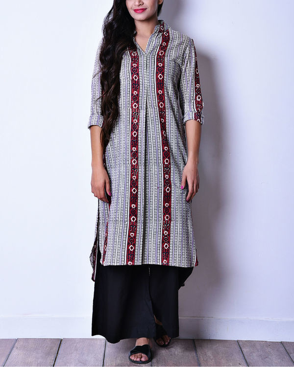 Maroon and grey ikat high low tunic