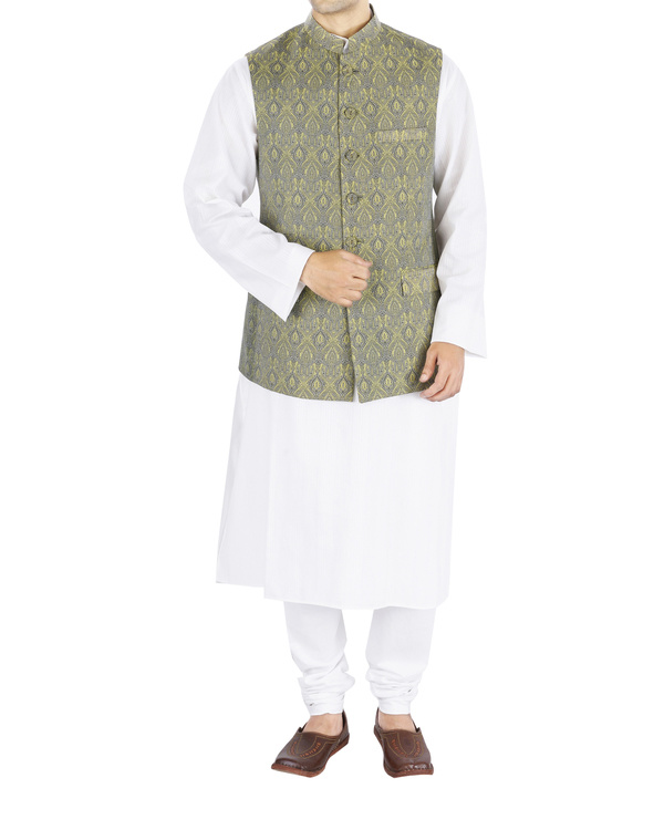 Grey brocade nehru jacket