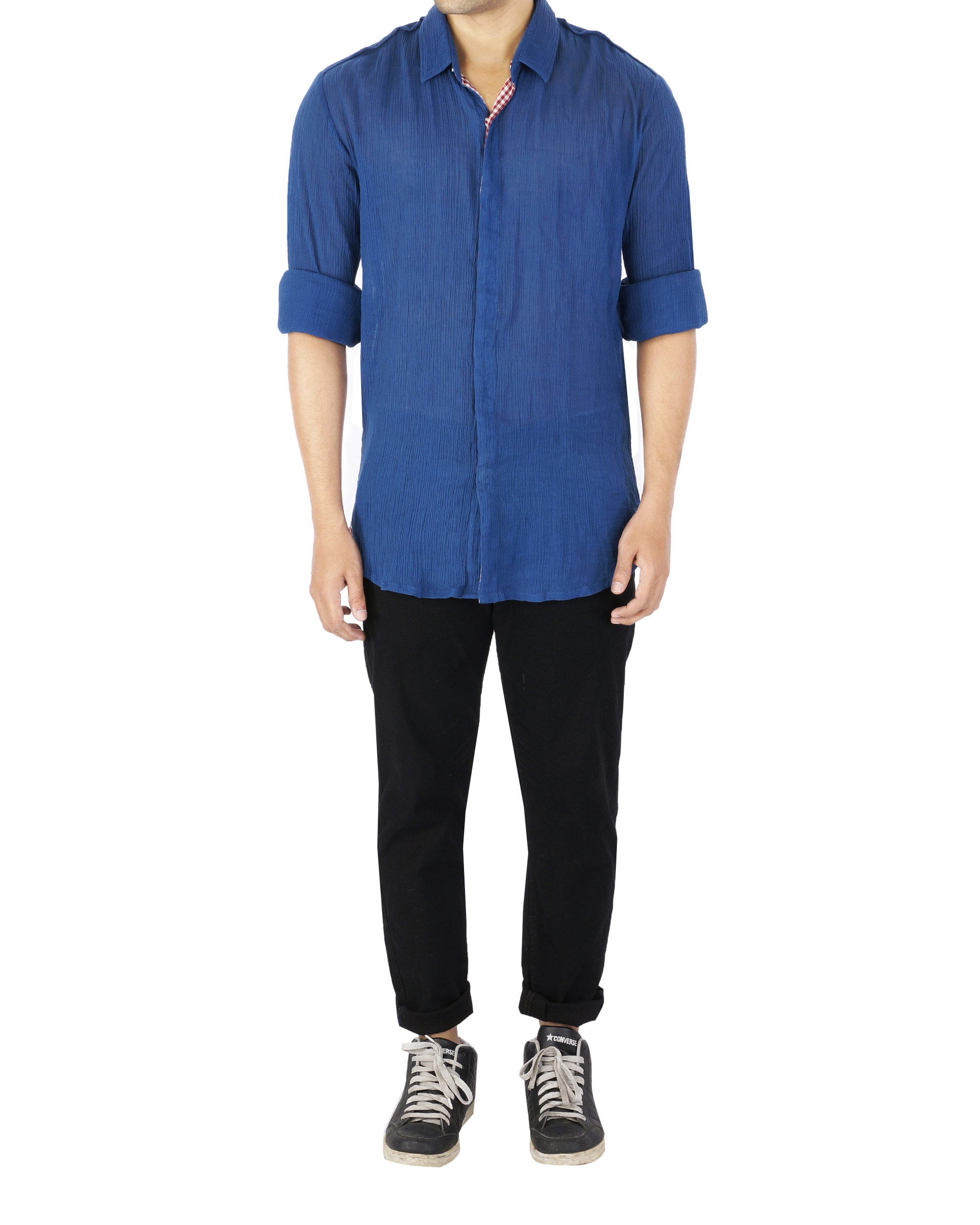 Blue crushed voile shirt