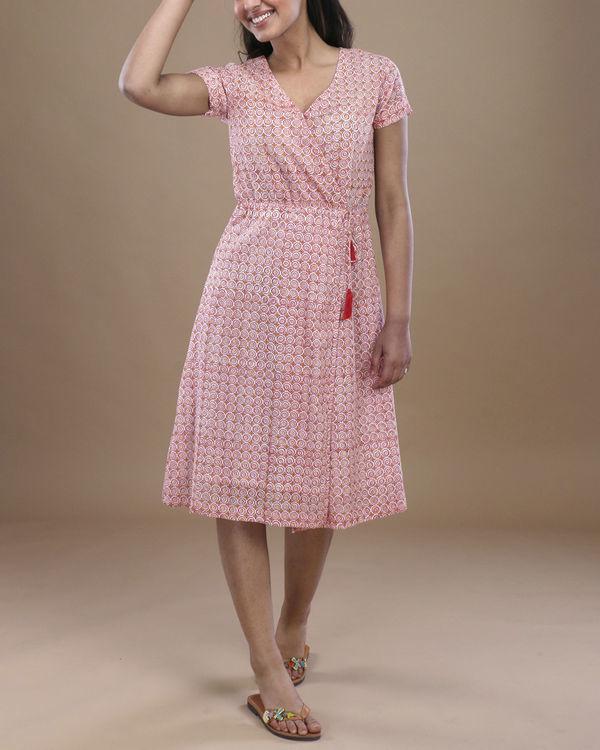Pink floral angrakha dress