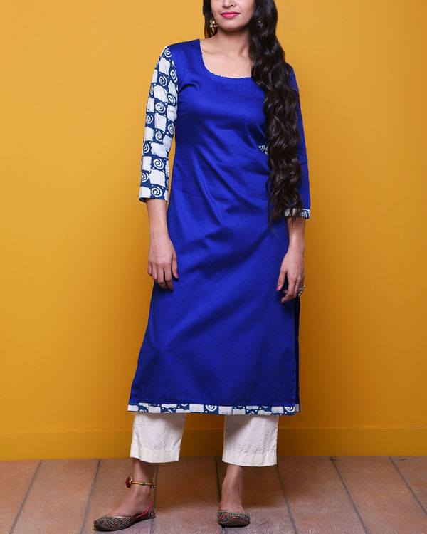 Royal blue printed sleeves tunic