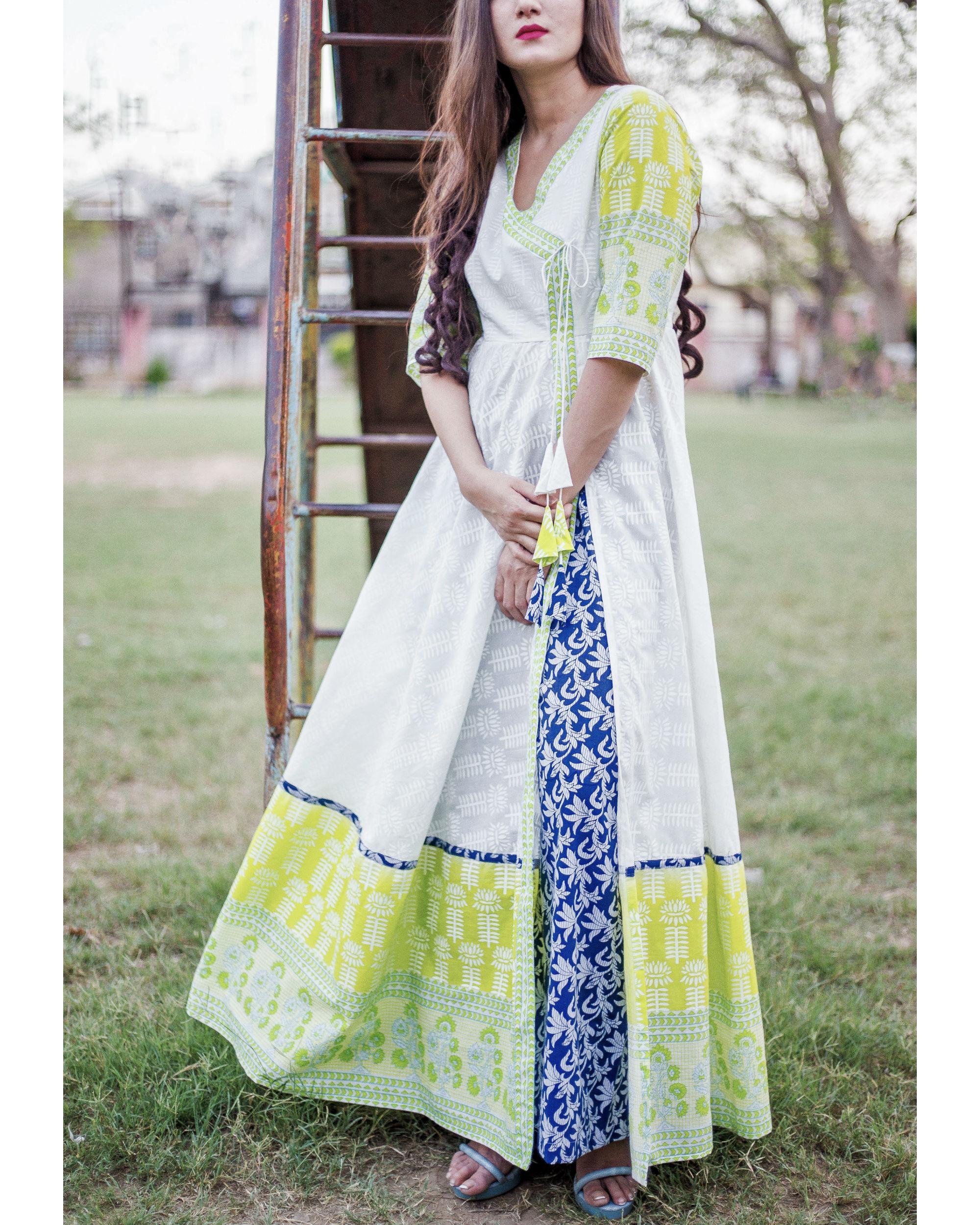 Lime and blue angrakha set