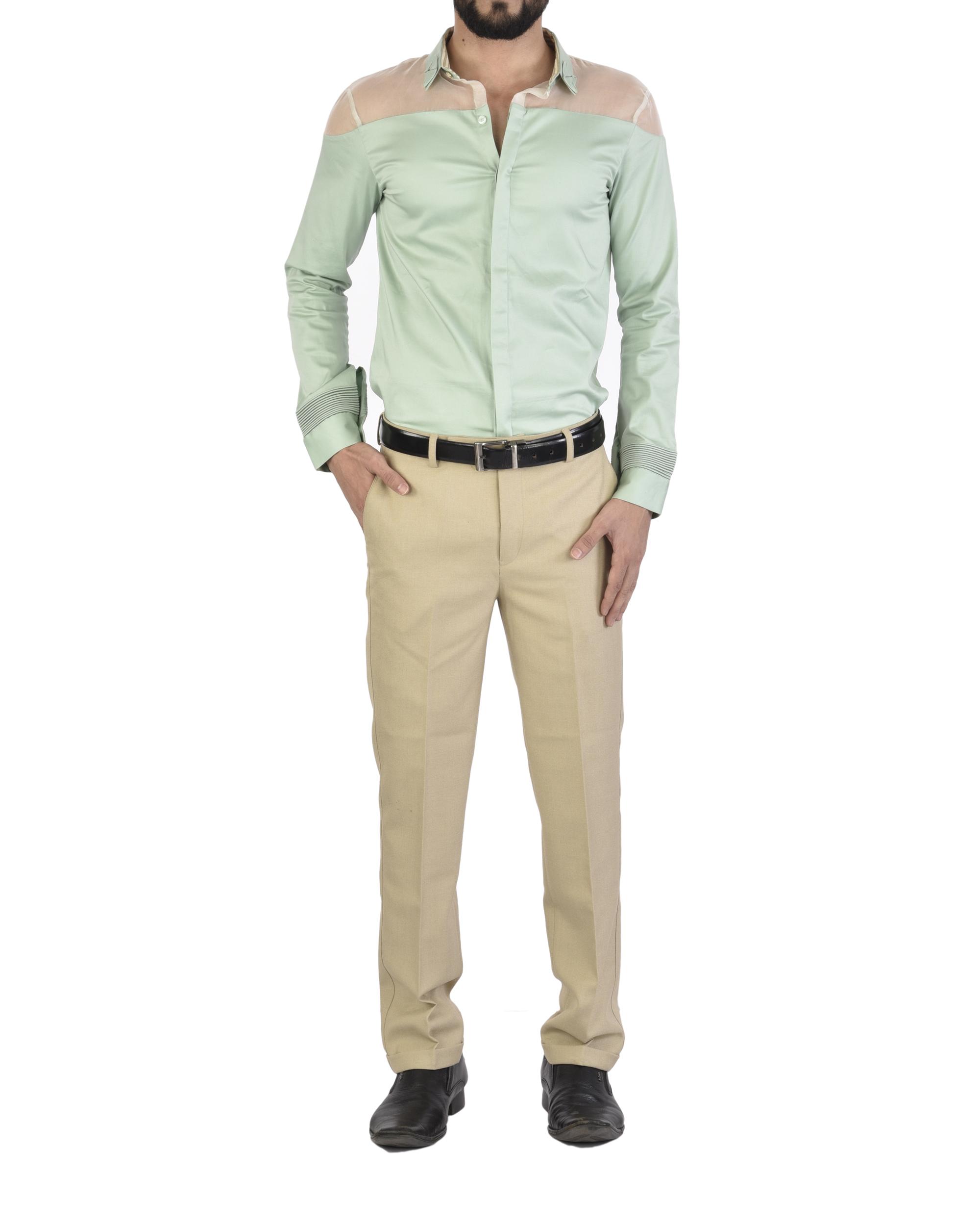 Mint sheer shoulder shirt
