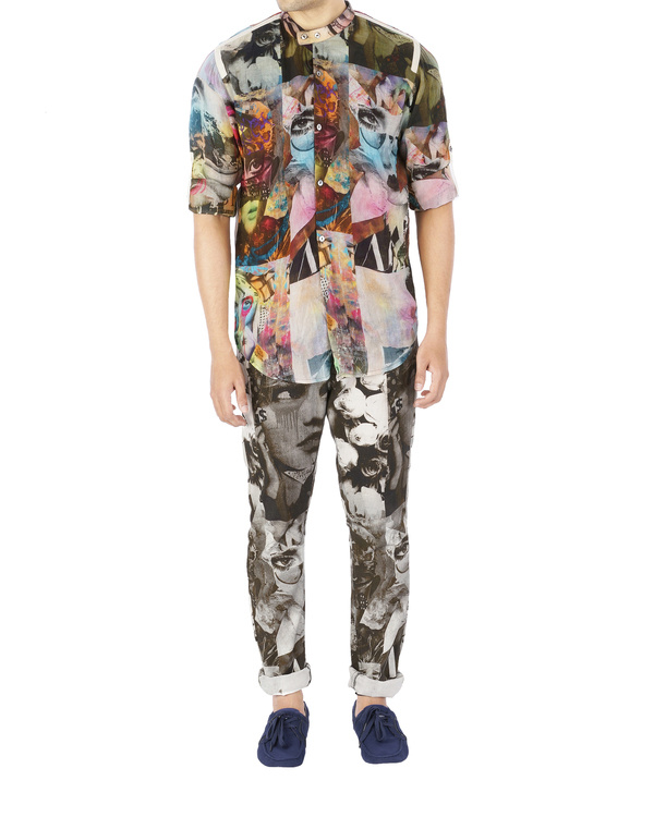 Collage print voile shirt