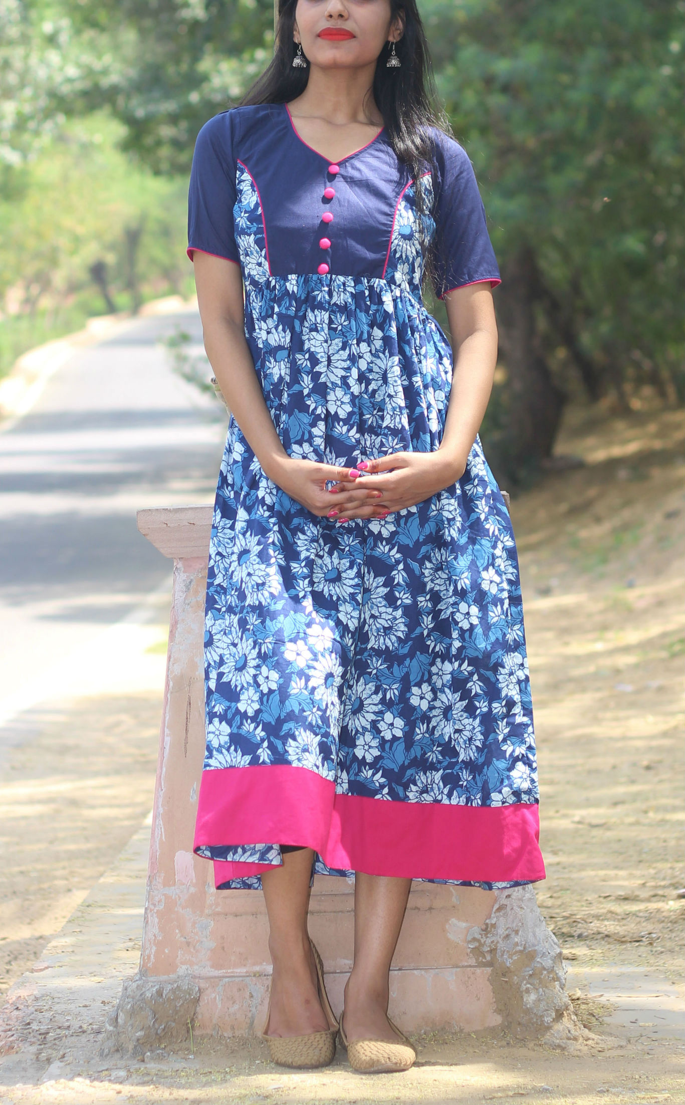 Fuchsia and indigo summer dress