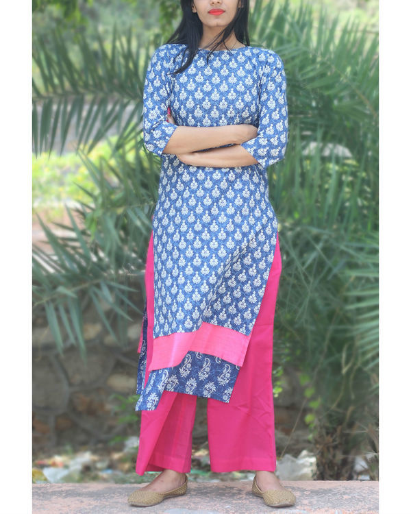 Set of indigo paneled kurta with palazzo
