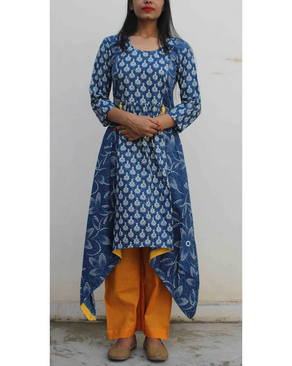 Set of indigo handkerchief kurta with palazzo