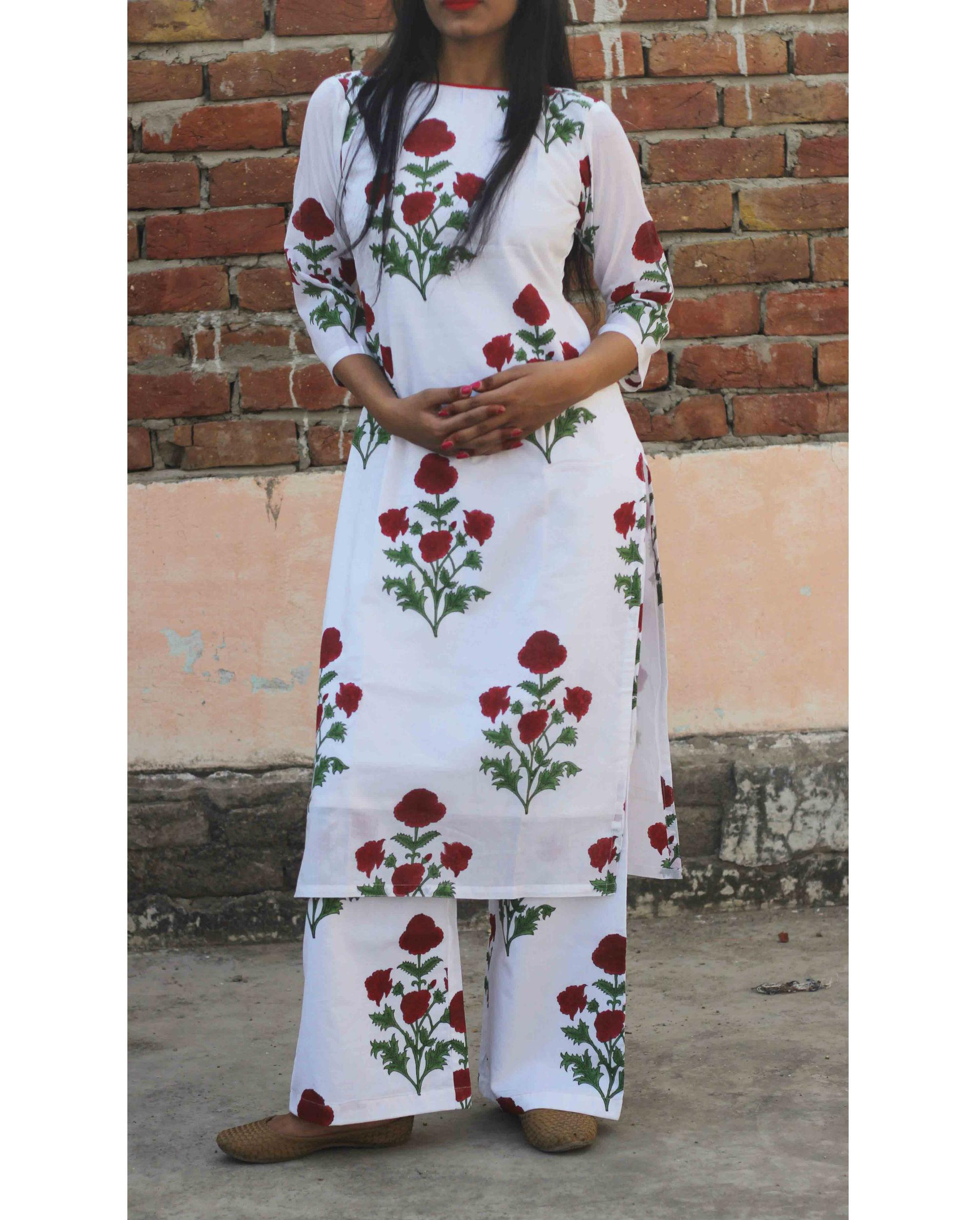 White rose kurta set