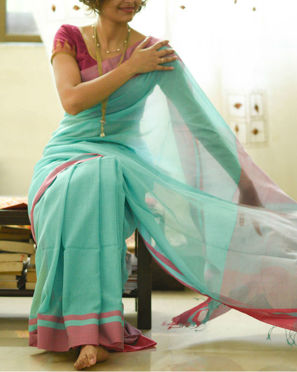 Turquoise and pink sari