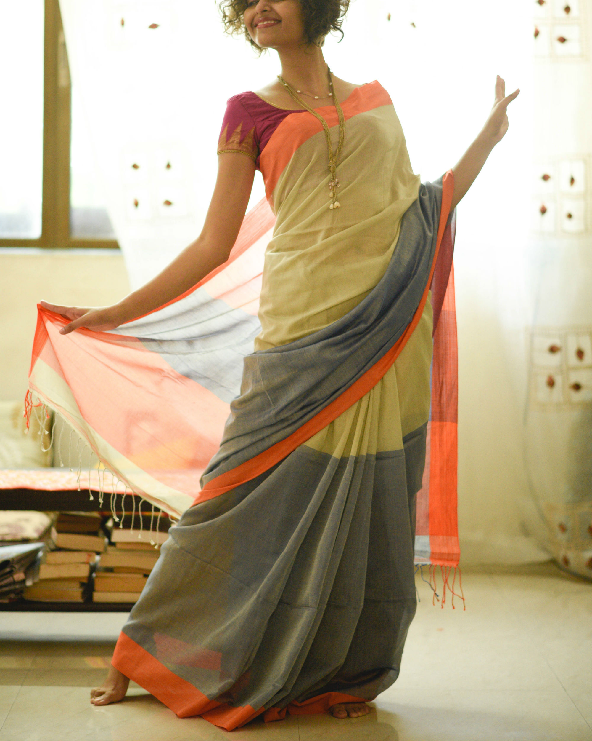 Neon orange border sari