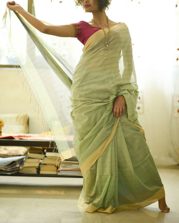 Green and yellow sari