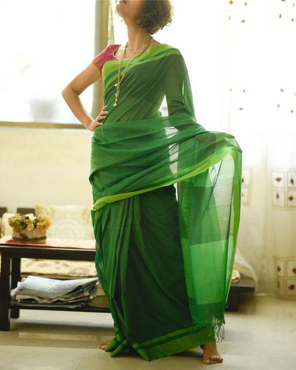 Shades of green sari
