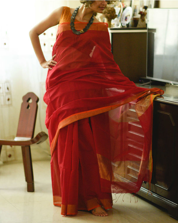 Gold and red sari