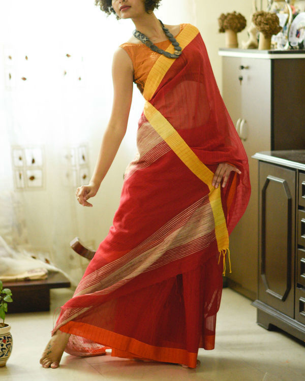 Yellow and red sari