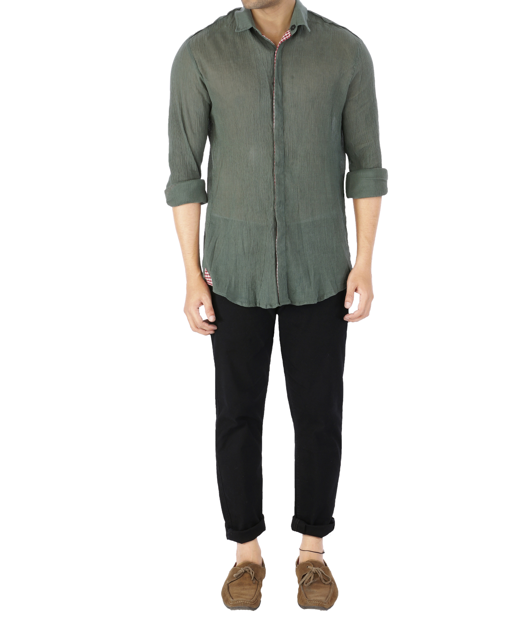 Olive green crushed voile shirt