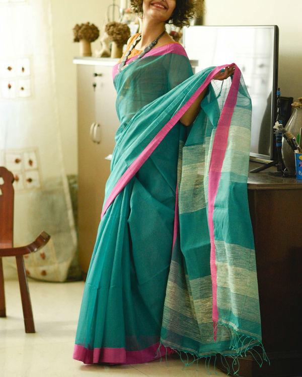 Teal and pink sari
