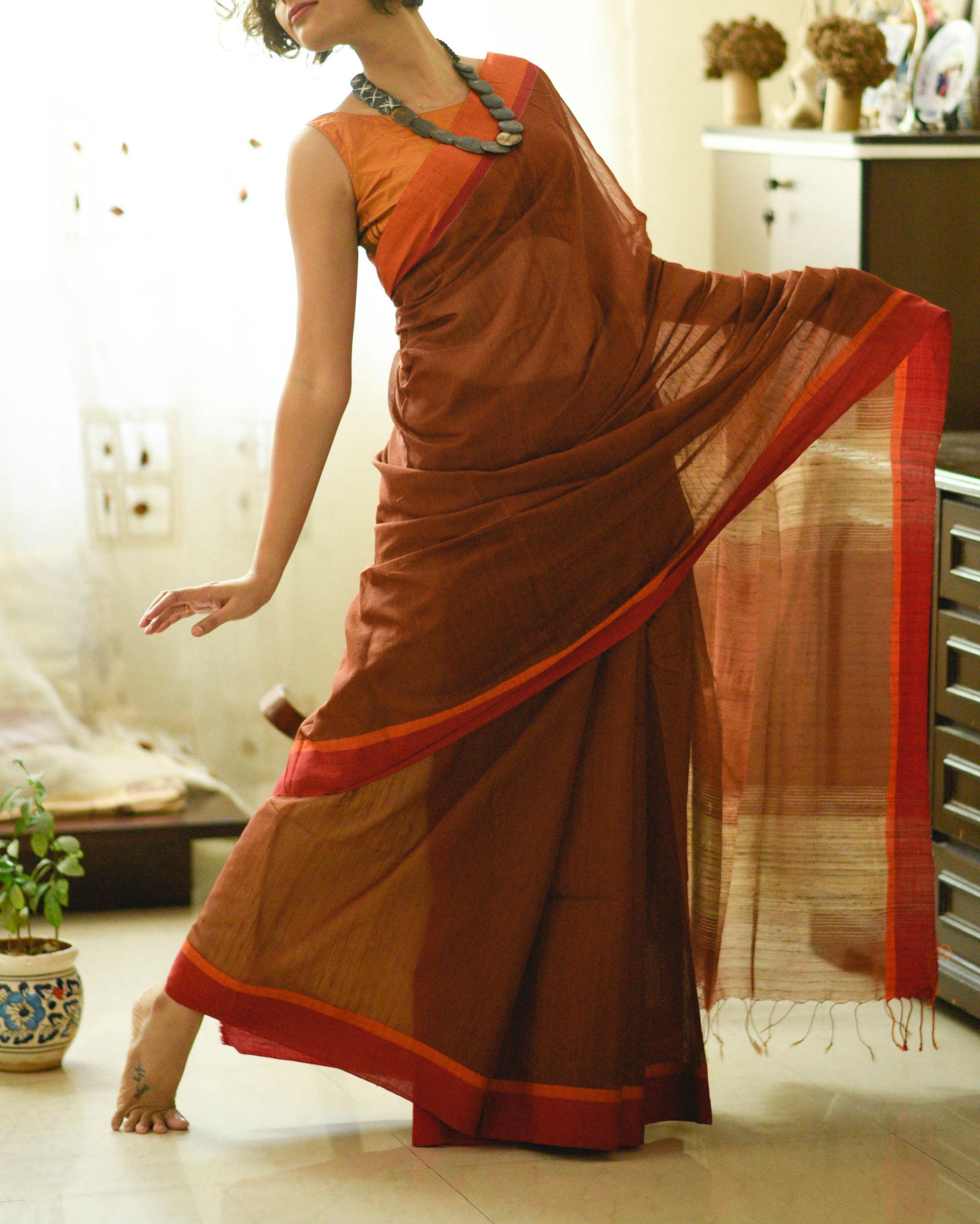 Orange and rust sari