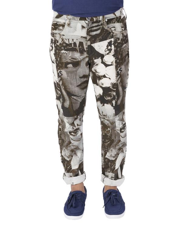 Collage print pants