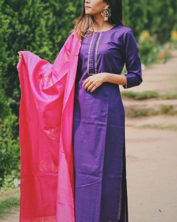 Purple buttoned color block set