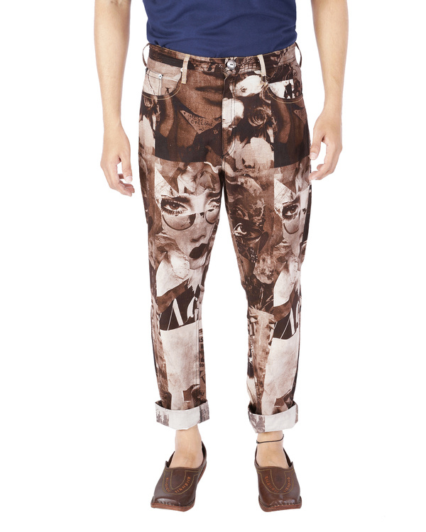 Collage print pants