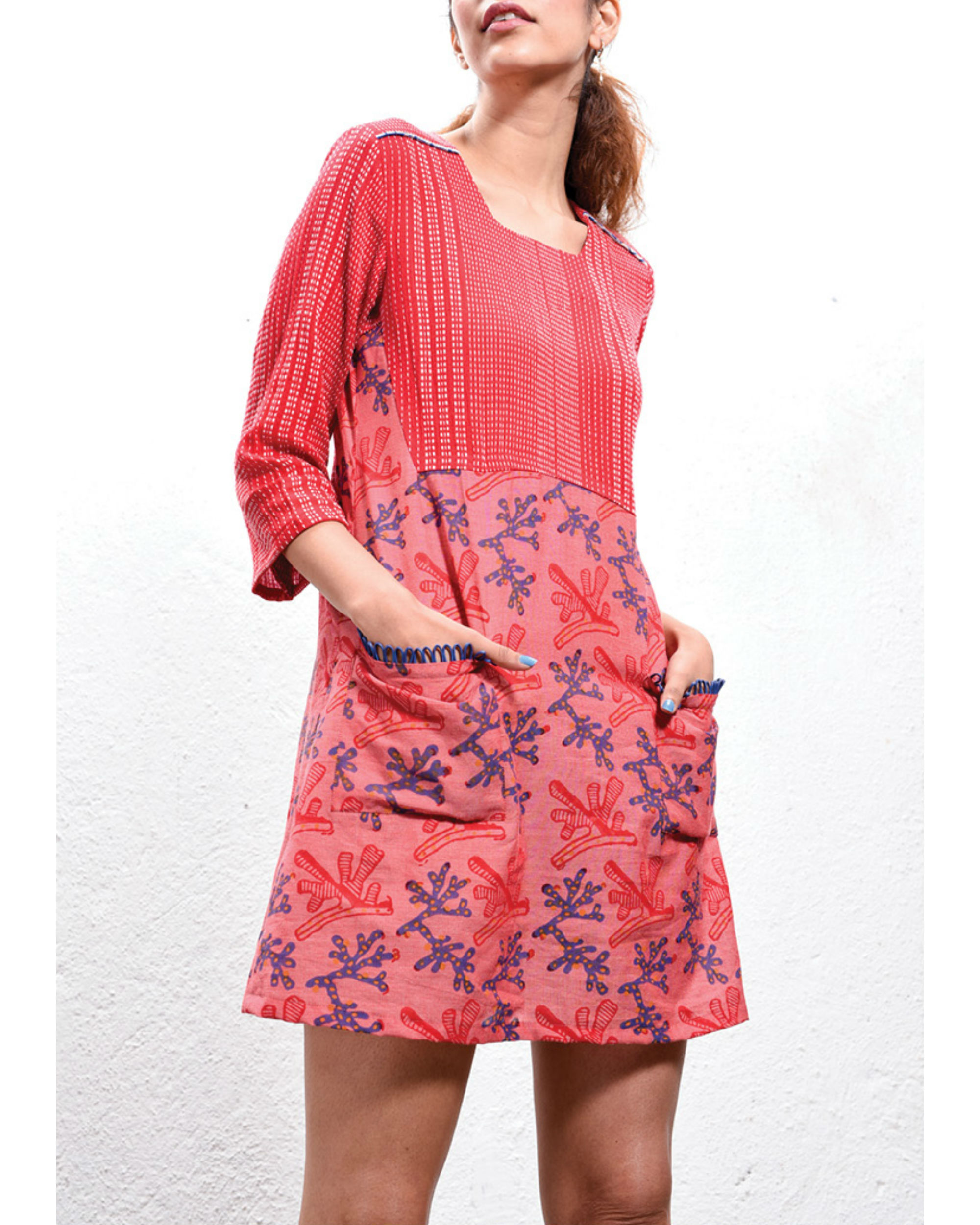 Coral front pocket dress