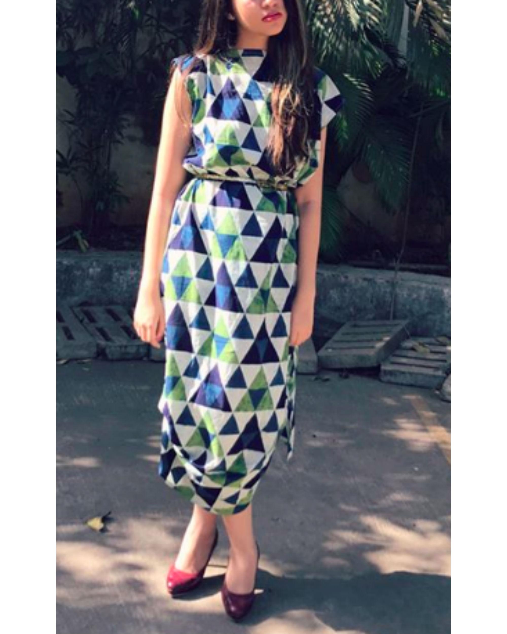 Green and blue mosaic dress