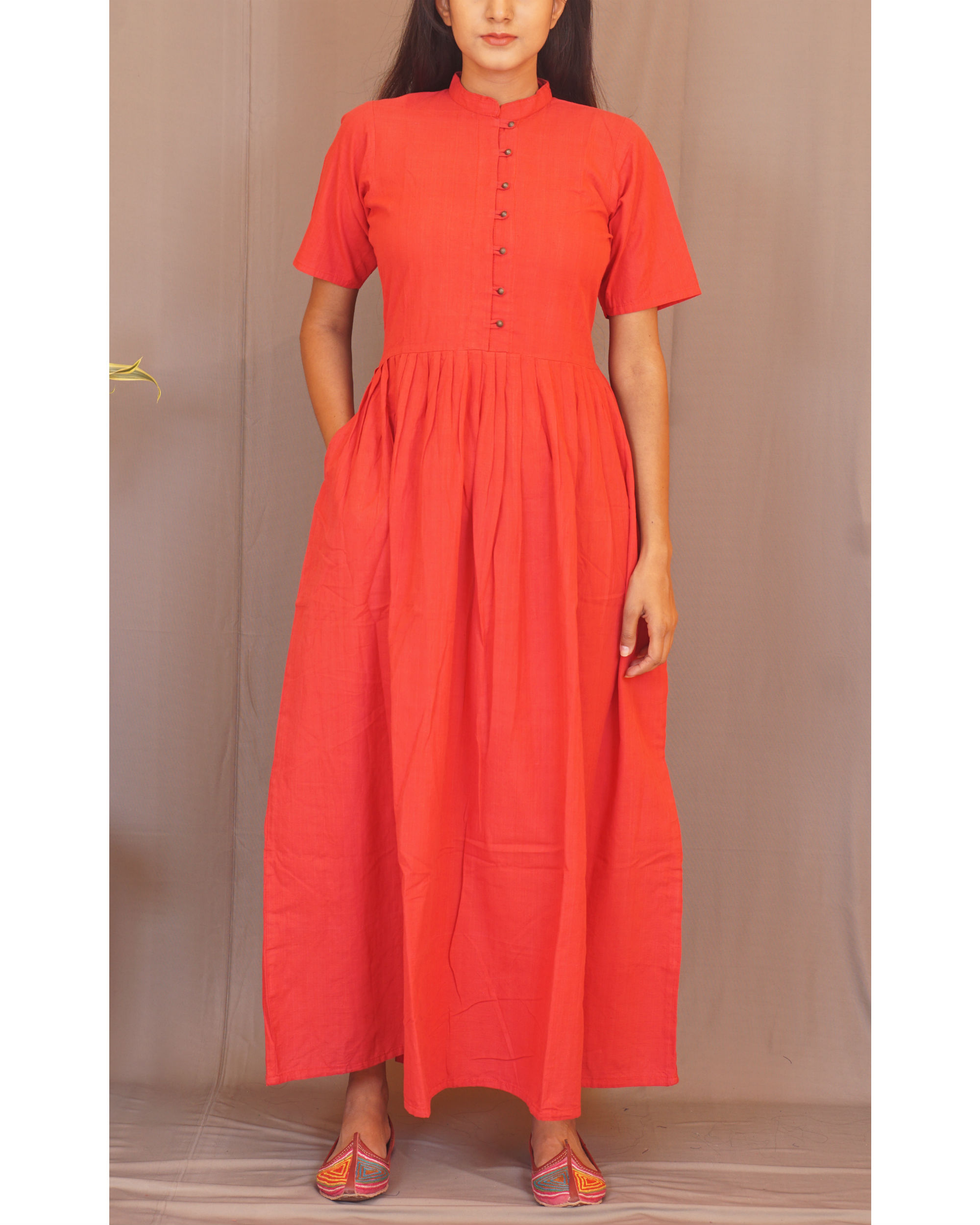 Red pleated maxi