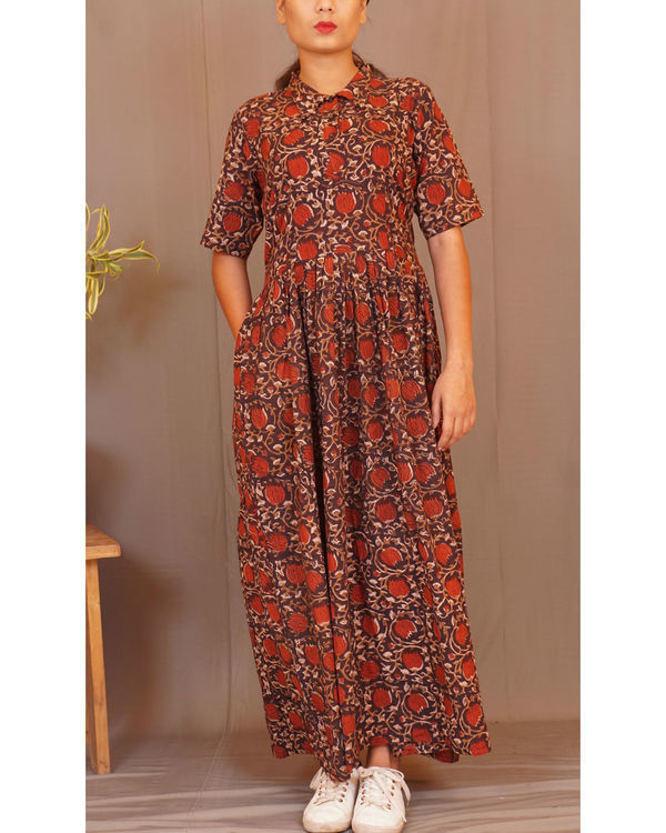 Rust floral gathered maxi