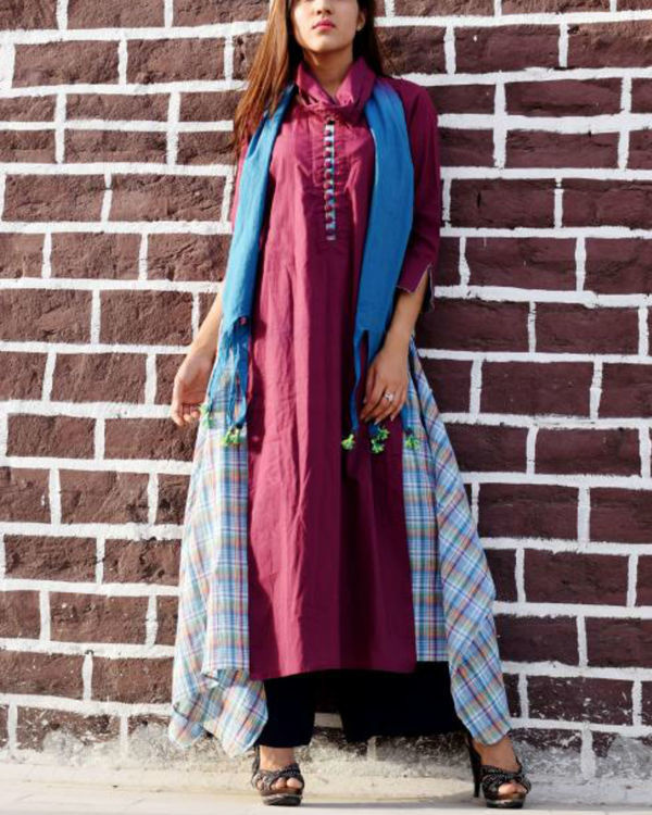 Plum layered tunic with stole