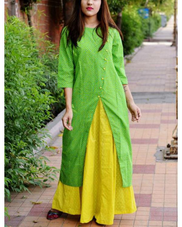 Lemon and green layered dress