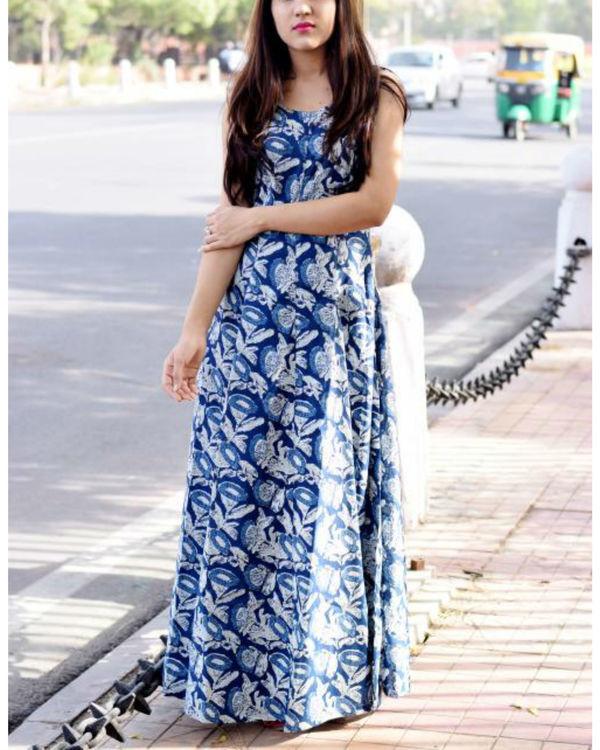 Princess flare indigo dress