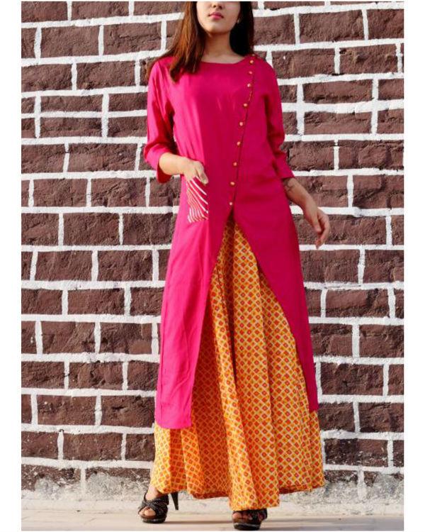 Pink and orange gota work dress