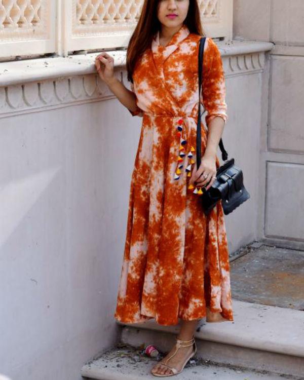Burnt orange tie dye dress